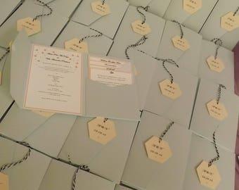 1 x Pocketfold sample Wedding Invitations ( Tag design )