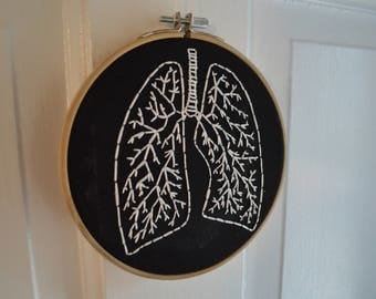 Lungs - Hand Embroidery Hoop Art - Embroidery Artwork - Gift for Doctor - Gift for Nurse - Gift for Medical Student - Anatomy - Black White