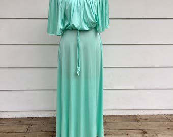Vintage 70s Seafoam Green Drapey Gown with Ivory Lace Neckline by Mr. Walter