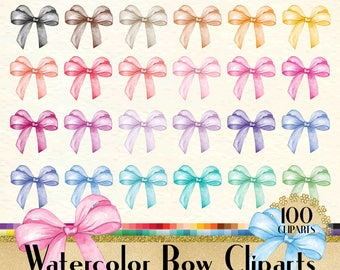 100 Watercolor Bow Clipart, Bow Clipart, Watercolor Clipart, Fashion Clipart, 100 PNG Clipart, Planner Clipart, Valentine Clip Arts