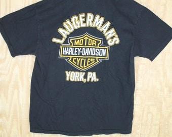 Vintage 1980's HARLEY DAVIDSON LAUGERMAN'S York Pennsylvania Hanes T Shirt T-shirt Tee Medium Large