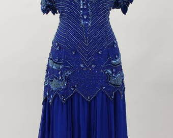 Oleg Cassini Vintage Dress Size 10 Blue Sequin Silk Lining