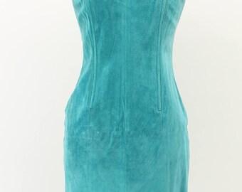 Morgan Taylor Teal Leather Dress Size: Medium