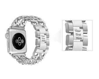 Stainless Steel Silver Engraved Apple Watch Band Jewelry Double Row Chain Link 38mm 42mm Bracelet Band Adjustable Girlfriend Gift 2018