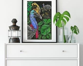 Southern Cassowary/ Linoprint/ Handcoloured/ Original Artwork/ Birds/ Australian Birds/ colourful birds/ bird messenger