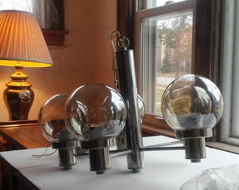 Mid Century Modern  Chrome and Glass Chandelier 5 Light Tinted Cool 60's Lighting