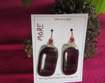 Lovely off white and Pink Purple fused glass earrings with bronze effect