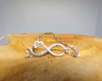 Bracelet with Infinity connector, rhinestone antique silver heart