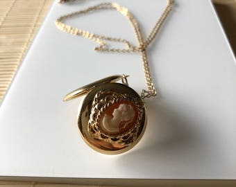 Vintage Cameo Locket Necklace, Gold Chain, Orange, Gold, White Metal Pendant, Costume Jewelry