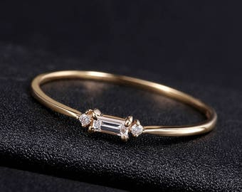 14k Yellow gold White Gold princess cut Diamond stackable Ring Wedding Band delicate Diamond Ring  engagement ring 0.08ct