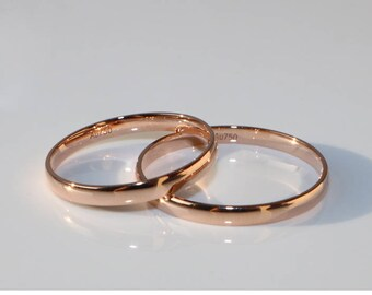 18k rose gold White Gold wedding band stackable Ring Wedding Band couple gold Ring  name engraving