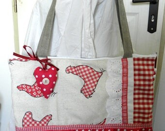"BAG pattern ""HOUNDSTOOTH"" spirit campaign, lace, Ruffles, red gingham"