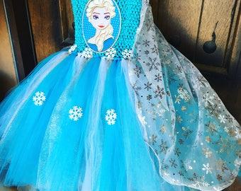 Frozen Tutu Dress with Elsa Cape