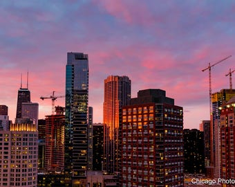 Chicago Sunset   Chicago Skyline   Chicago Affordable Wall Art   Chicago Photography   Chicago Photo   Chicago Color Photography   Fine Art