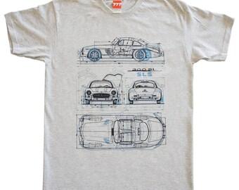 Mercedes Gullwing gray tshirt vintage classic sport car supercar