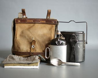 SWISS ARMY 1945 Bread Bag with 1960s Accessories, Swiss Army Set, Swiss Army Haversack, Swiss Military Haversack, Swiss Army Messenger Bag