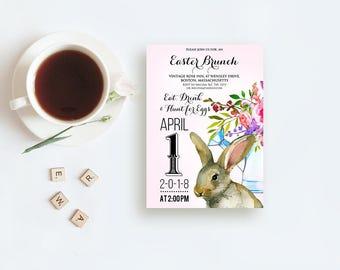 Easter Brunch Invitation Easter Egg Hunt Party Invites Easter Bunny Rabbit Printed Invitations Watercolor Spring Floral Pink Invitations DIY