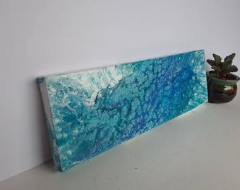 "Tides: Original Acrylic Painting - 12""x4"" Canvas"
