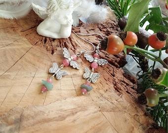 boucles d'oreilles en quartz Fraise naturel, aventurine et en métal argenté Créé par AngelS SignS