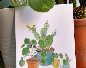 SALE Nr. 39 map ' Have a nice day! ' with cactus and Pilea illustration