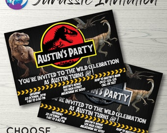 Jurassic World Invitation, Jurassic Park Invitation, Dinosaur Invitation, Dinosaurs Birthday Party, Jurassic World Birthday Invitation