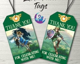 Zelda Favor Tags, Zelda Thank You Tags, Zelda Party Decoration, Zelda Favors, Zelda Favours, Zelda Thank You Tags, Zelda Birthday Party
