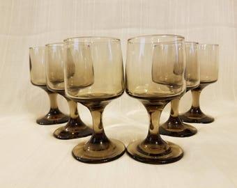 Set of 6 Vintage Libbey Smoky Brown 6 oz Wine Glasses, Smoked Tawny, 1970s Barware