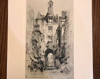 "Vintage ""Tower Of Time"", Amboise, France, signed etching by Hedley Fitton reproduced in Talio-Crome"
