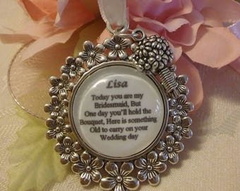Custom made Bridesmaid Wedding BRIDAL BOUQUET CHARM Bride Personalised Something Old Thank you keepsake gift