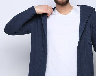 Indigo Blue Knitwear Cardigan Hooded Sweater