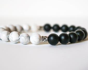 """Handmade """"Balance"""" Black Onyx and Howlite Bracelet, Gift, Stocking Stuffer, Gift for Her, Boho"""