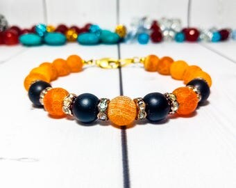 Agate bracelet Orange jewelry Clothing gift Genuine gemstone Women bracelet Gemstone gift Energy bracelet Orange agate jewelry Orange gift