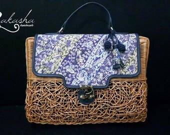 Rattan Batik Bag, Rattan Bag, Hand Bag, Batik Bag