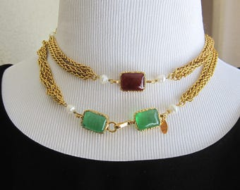 Authentic *RARE* Vintage Chanel Gripoix Necklace with Gold Plated Excellent!!!
