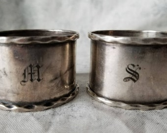 Pair of Initialed Silver Napkin Rings London England Early 1900's by A C Bloxham Ltd (Albert Cowley Bloxham)