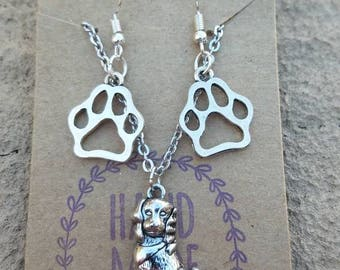 Dog and paw prints jewelry set- stainless steel dog necklace - paw print earrings- jewelry set- animal lover set