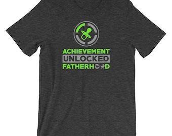 "Premium ""Achievement Unlocked: Fatherhood"" Funny Gamer Shirt   Father's Day Shirt   First Time Dad Shirt   Pregnancy Announcement Shirt"