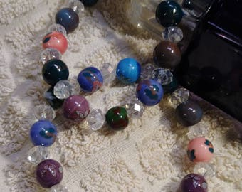 Chinese inspirational beads and crystals bracelet transparent faseado size 7 to 7 1/2 '