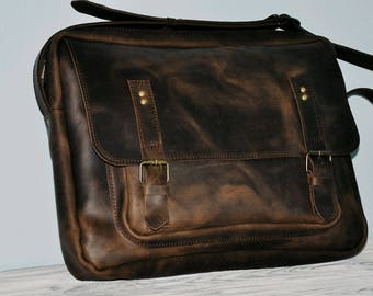 Brown Leather Messenger bag/Leather Briefcase/Leather Messenger/Leather Shoulder Bag/Leather Mens Bag/gift for him/stylish/genuine leather/