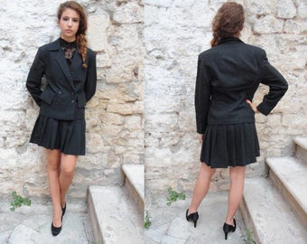 Vintage 90's Woman suit with skirt - handmade unique piece [Business]