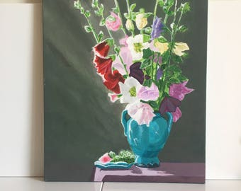 Flowers in vase painting Original still life flowers  Contemporary floral wall art Floral art kitchen decor Acrylic flowers Free shipping