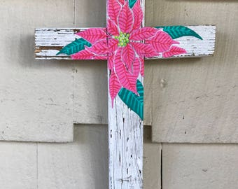 Pink Poinsettia Reclaimed Wood Cross