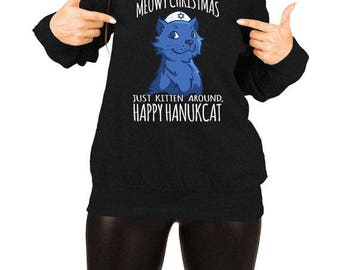 Funny Hanukkah Gifts For Cat Lovers Chanukah Holiday Outfits Jewish Clothing Cat Sweater Off The Shoulder Slouchy Sweatshirt TEP-527