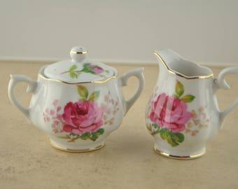 Mini Sugar and Creamer Pink Rose and Gold Leaf China