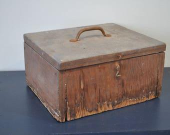 Vintage Wood Hinged Tool Box
