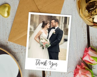 Wedding thank you etsy exquisite wedding thank you cards with photo wedding thank you cards wedding photo junglespirit Image collections
