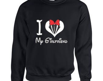 I Love My Girlfriend Minnie Mouse  Couple Goals Clothing Adult Unisex Sweatshirt Printed Crew Neck Sweater for Women and Men