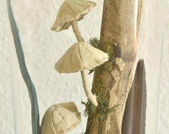 Botanische kunst. Glazen pot met een textile wereld. Handgemaakt in Herfst thema. Paddestoelen
