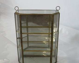 Small Brass Glass Mirror Curio Display Case