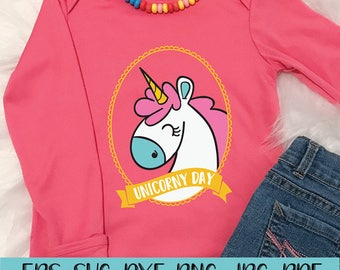 Unicorny Day, t shirt svg, SVG, DXF, EPS, jpg, png, digital download, shirts, kids, gift, Unicorn, Pink, commercial use